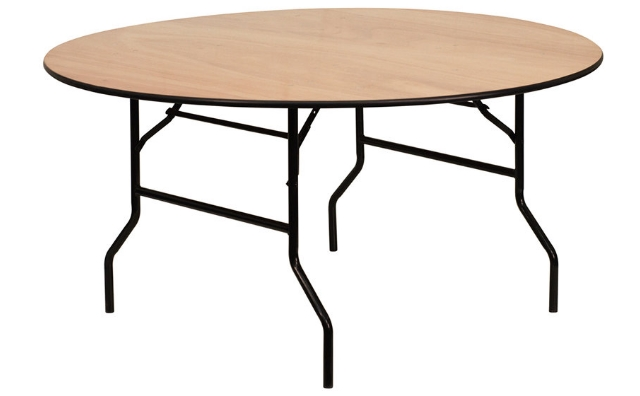 5 Ft. Round Wood Table With Rubber Edge